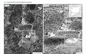 A side-by-side comparison of the compound before and after the raid. No collateral damage to adjacent structures.