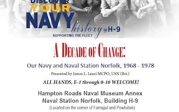Naval Museum Annex aboard Naval Station Norfolk to host Historical Presentations in February 2020