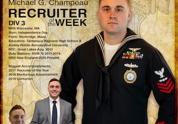 NRD New England Recruiter of the Week Graphic -  AE1 Michael Champeau