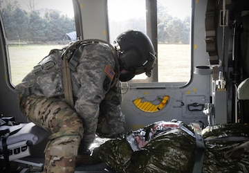MEDEVAC Soldiers train in disaster scenario