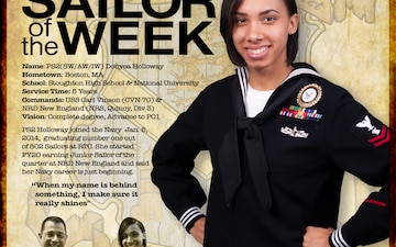 NRD New England Sailor of the Week - Personnel Specialist 2nd Class Donyea Holloway.