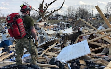Ky. Air Guardsman, search-and-rescue K9 clear tornado rubble in Tenn.