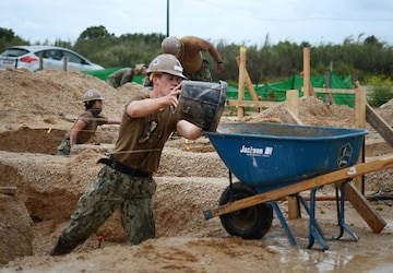 NMCB 1 Cleans Flooded Project Site