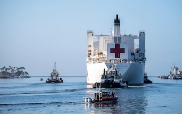 USNS Mercy Departs Los Angeles; Military Relief Efforts Continue
