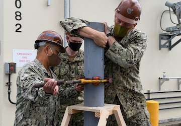 SEABEES work on reinforcement project at the Naval Air Facility Misawa Fuel Terminal