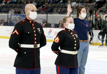 Huntsville Havoc hosts Marine enlistment ceremony on the ice