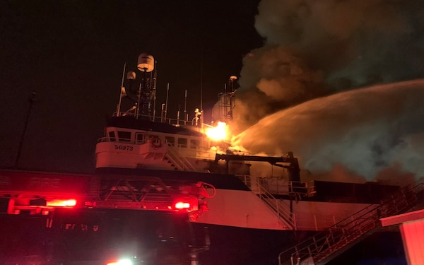 Coast Guard, partner agencies respond to vessel fire in Tacoma