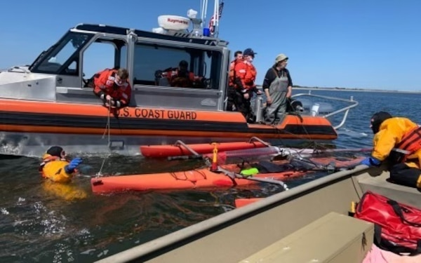Members of Coast Guard Station Atlantic City, New Jersey rescued a kayaker from the water April 08, 2021. Margate City Fire Department crew members arrived on scene and assisted the Coast Guard in placing the kayak in side tow. (U.S. Coast Guard curtesy photo provided by Margate City Fire Department/Released.)