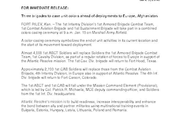 1st Infantry Division Press Releases - 01.09.2019