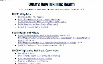 Navy and Marine Corps Public Health Center (NMCPHC) Publications - 07.30.2019
