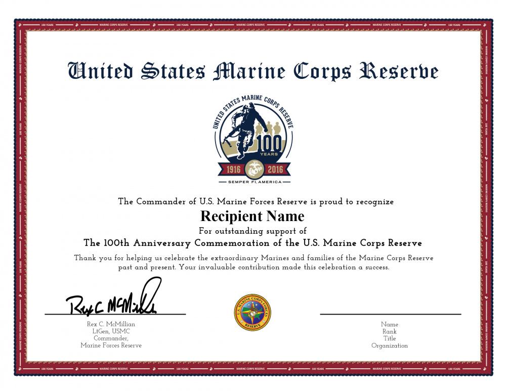 Marine Corps Reserve Centennial Commander's Certificate 1