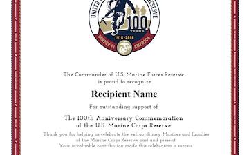 Marine Corps Reserve Centennial Commander's Certificate 2