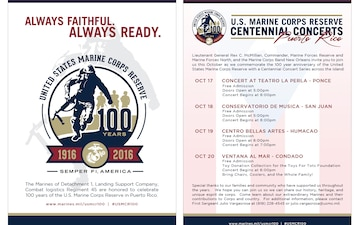 Marine Corps Reserve Centennial Concerts Info Card for Puerto Rico