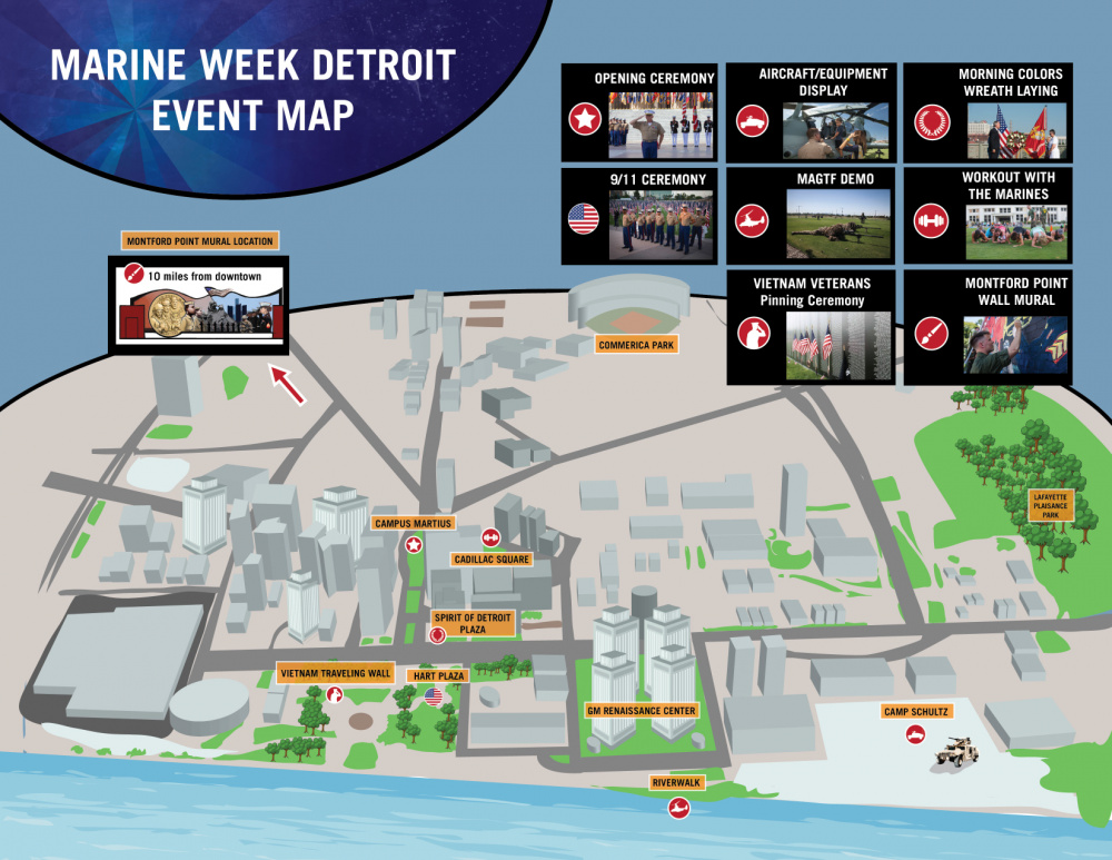 Marine Week Detroit event map