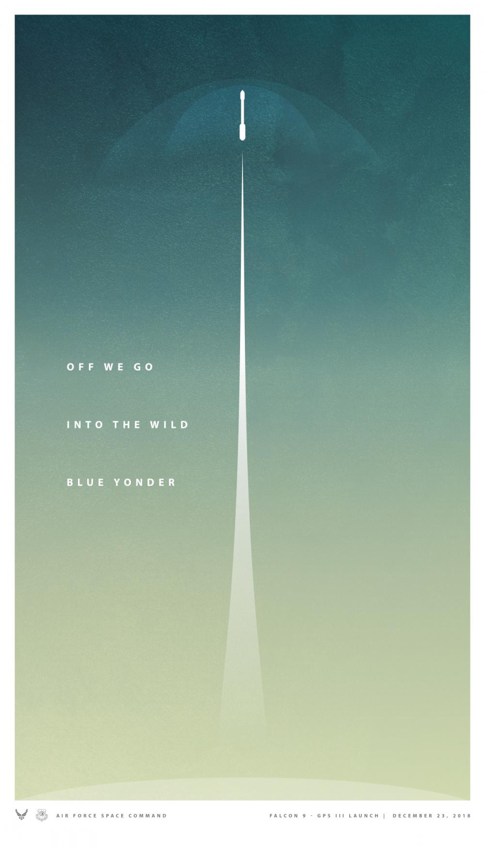 Falcon 9 - GPS III Launch Commemorative Poster - 300 DPI