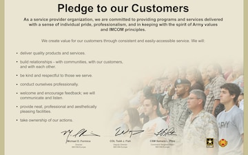 IMCOM EUROPE PLEDGE TO OUR CUSTOMERS - 8.5 X 11 IN - FOR LOCAL REPRODUCTION