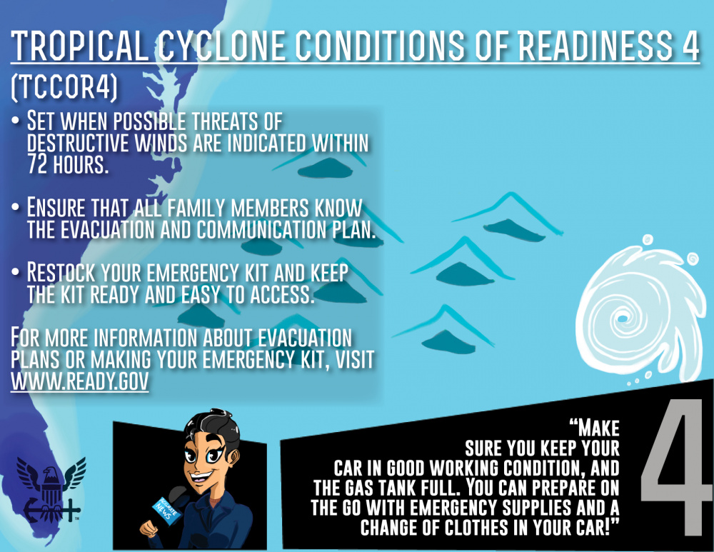 Tropical Cyclone Condition of Readiness 4 (TCCOR4)