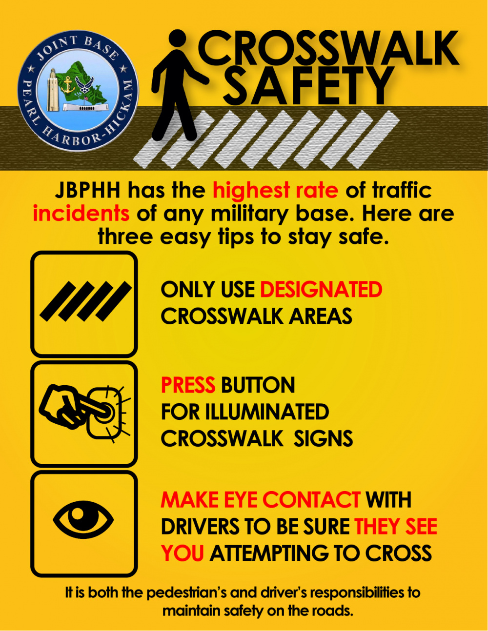 Joint Base Pearl Harbor-Hickam Pedestrian Safety Poster