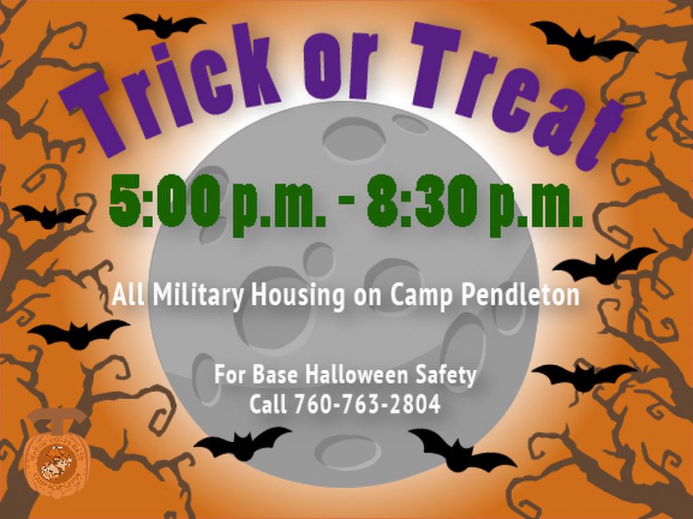 Marine Corps Base Camp Pendleton Halloween Trick or Treat Hours