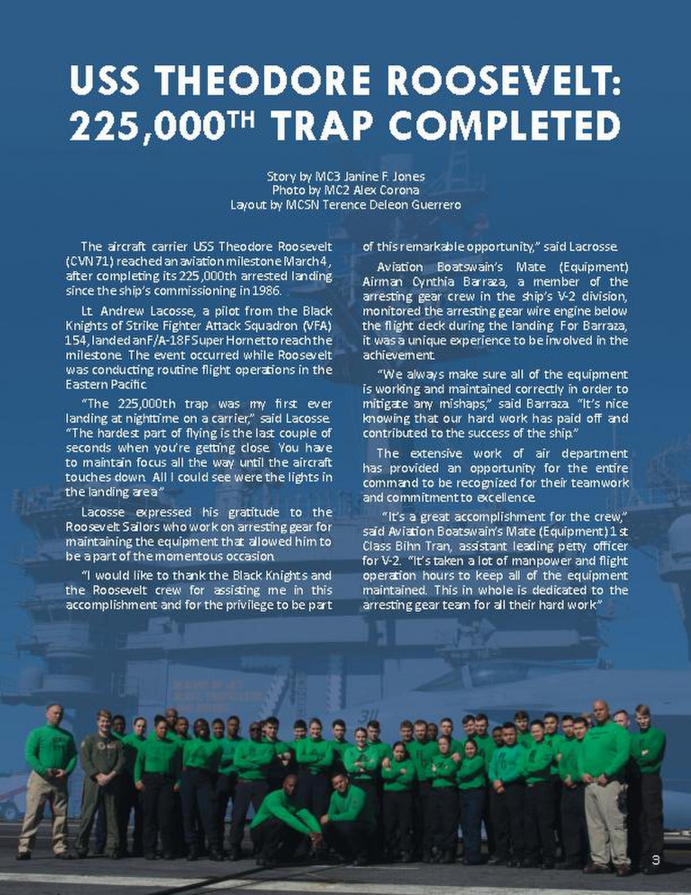 USS Theodore Roosevelt 225,000th Trap Completed