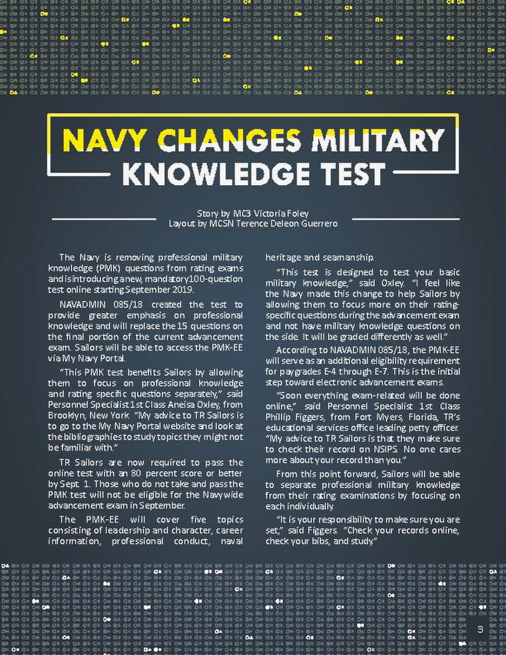 Navy Changes Military Knowledge Test