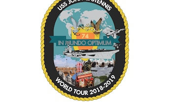 A crest created to summarize and represent the aircraft carrier USS John C. Stennis' (CVN 74) 2018-2019 deployment and homeport change