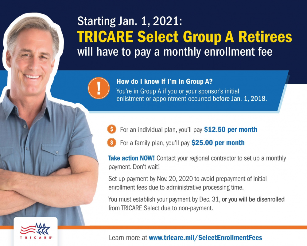 New Enrollment Fees for TRICARE Select Group A Retirees Starting Jan 1, 2021