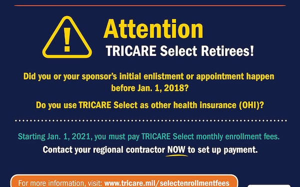 Attention TRICARE Select Group A Retirees: New Enrollment Fees for 2021!